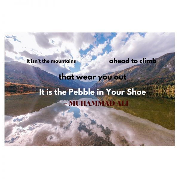 Quote:  Muhammad Ali Pebble in Your Shoe